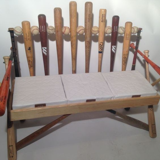 custom made baseball bat bench discover repurposing. Black Bedroom Furniture Sets. Home Design Ideas