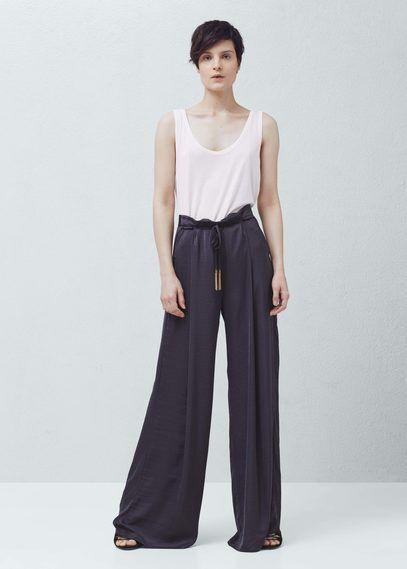 Pantalon palazzo fluide | MANGO