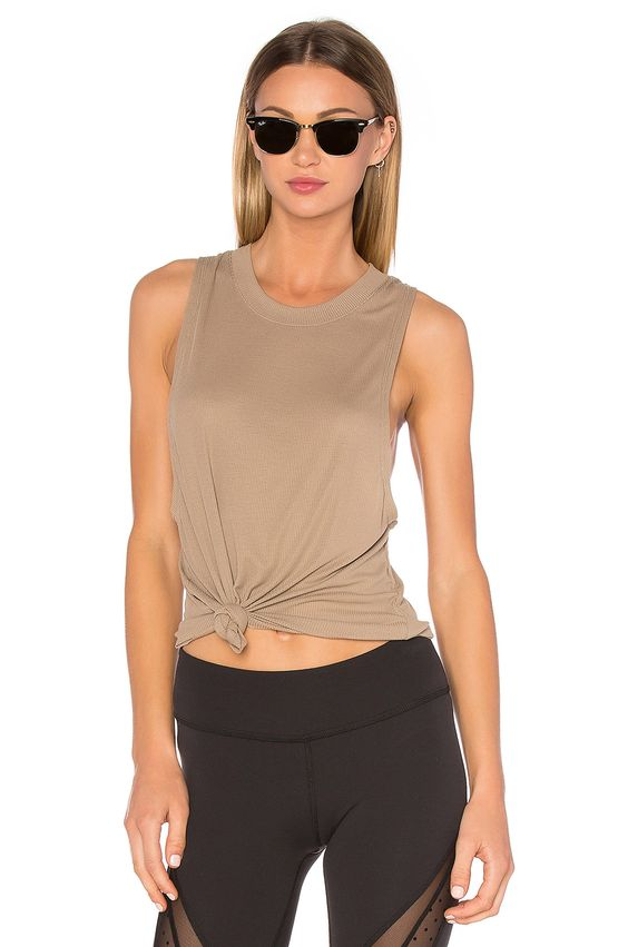 alo Heat Wave Tank in Gravel | REVOLVE