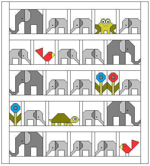 Welcome to the Elephant Parade! posted by Lorna... I will be showing a block each week and would like to encourage you to quilt along...The original post about the inspiration for this baby quilt design can be found here. I have also added this Elephant Parade quilt along page that includes all the information you will need and a weekly schedule. As each post is published the live links will be added to the schedule. The Elephant Parade page tab is found just below the blog header.: