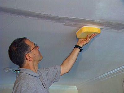 Repairing cosmetic ceiling crack.