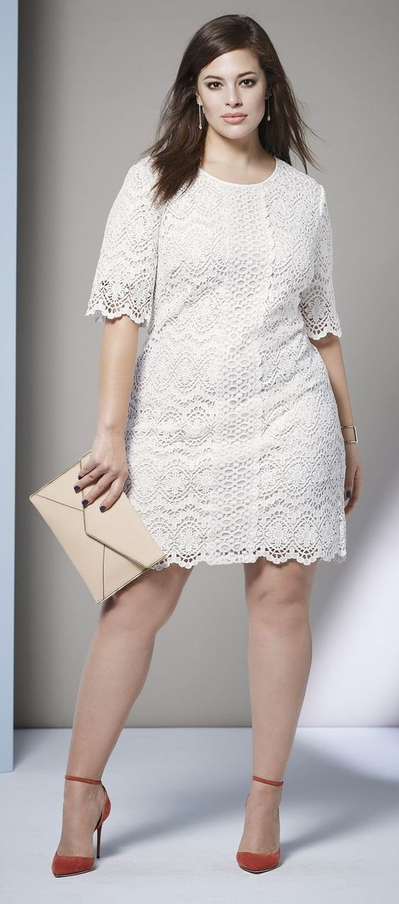 Plus Size A-Line Lace Shift Dress: