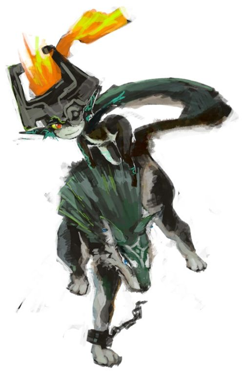 Midna and wolf Link (from The Legend of Zelda: Twilight Princess) by unknown artist