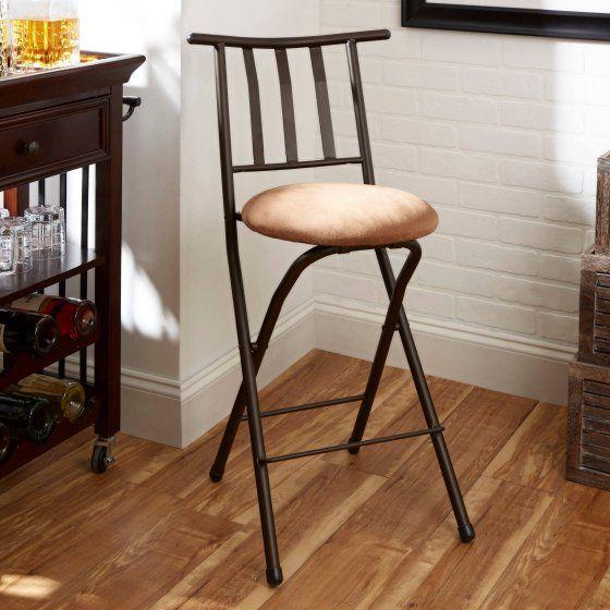 Mainstays Slat Back Folding Barstool Bronze 35 Walmart Com