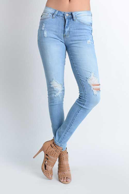 Kancan Jeans Light Wash Destructed Skinny Jeans for Women | Denim ...
