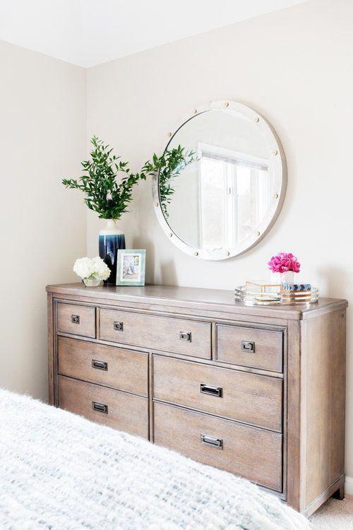 Round Mirror Above Dresser And Styled Scout Nimble Decoratingideas Dresser Decor Bedroom Dresser Decor Home Decor