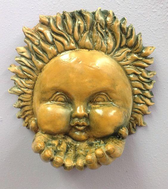 Terracotta Sun Bird Feeder Wall Plaque Mask Celestial Collection ...