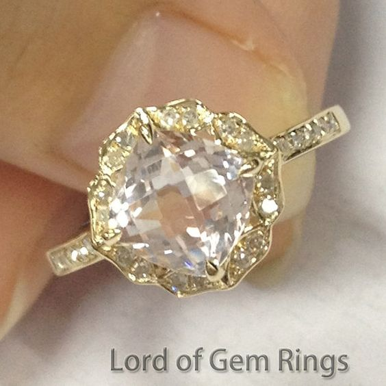 Vintage Floral Design! HALO Cushion Cut Morganite Ring Pave Diamonds Ring 14K Yellow Gold Engagement Promise Wedding Ring on Etsy, $568.00