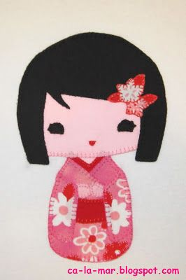 "Ca La Mar: Decoupatchwork: ""Camiseta con muñeca kokeshi"""