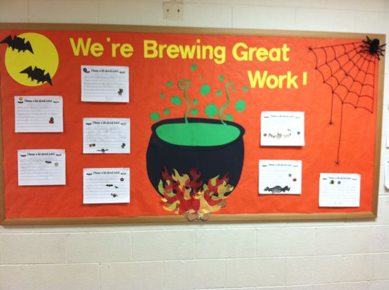 "Halloween Bulletin Board - this could be great in my window display with a big cauldron. ""What's brewing in the library this month?""  And scary books - cookbooks - bats & spiders"