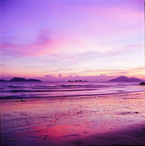 purple and pink skies at the beach