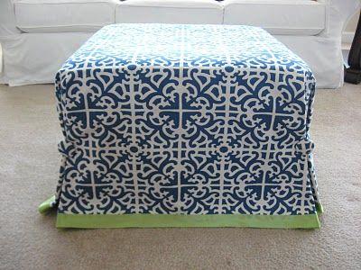 No-Sew Ottoman Slipcover