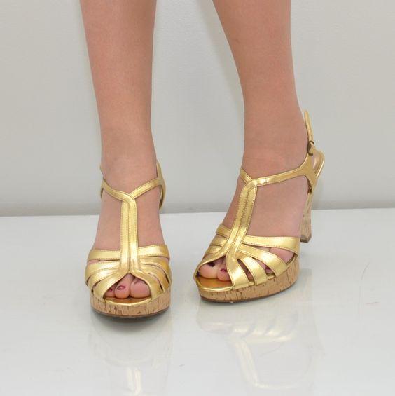 vintage t strap shoes | vintage AURIFEROUS t-strap cork sandals size 8 1/2