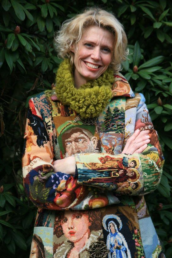 Handmade coat, Annet Schottert, from vintage needlepoint pieces