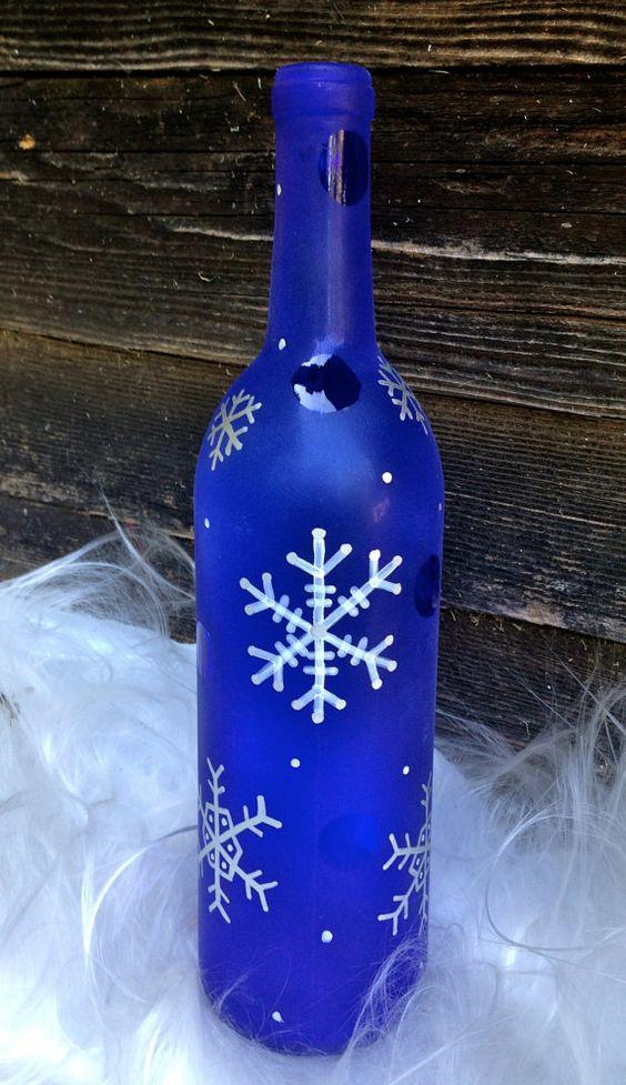 Snowflake wine bottle d cor cute classy by for Cute wine bottles
