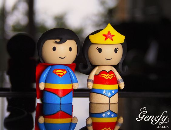 Superman and Wonder Woman wedding cake topper https://www.facebook.com/genefyplayground: