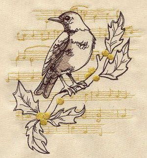 french vintage christmas robin #embroidery #pattern: