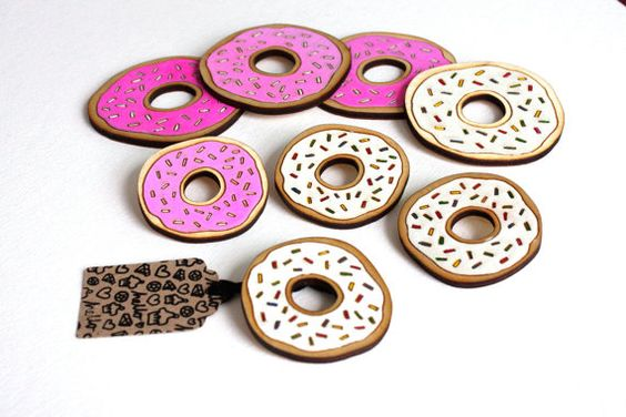 Donut Brooch. Hand Painted. Laser Cut. Birch Wood. by Rockcakes, $12.00