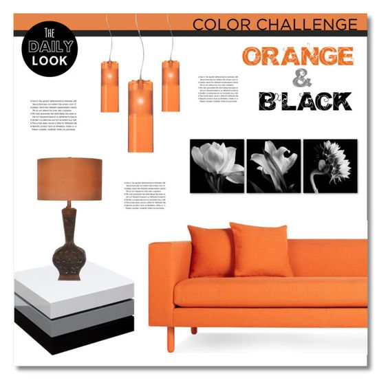"""""""Color Challenge: Orange and Black"""" by asiyaoves ❤ liked on Polyvore featuring interior, interiors, interior design, home, home decor, interior decorating, Blu Dot, Diamond Sofa, Kartell and Arche"""