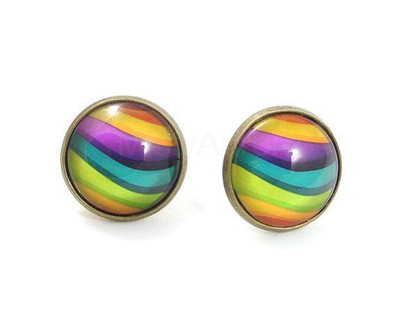 Rainbow Waves Earring Studs Bronze Color Block Free by MistyAurora, $15.00