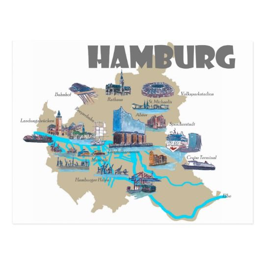 Hamburg Karten Uberblick Postkarte Zazzle De Hamburg