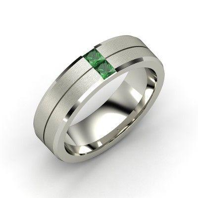 green lantern inspired s palladium ring with emerald