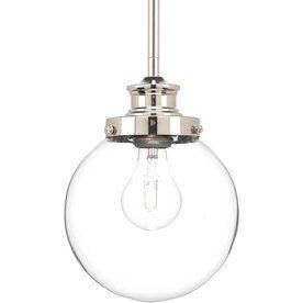 Progress Lighting Penn 6.87-in W Polished Nickel Mini Pendant Light with Clear Glass Shade