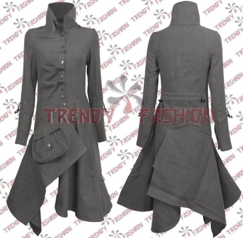 Ladies Long Military Style Coat