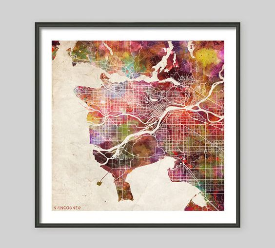 VANCOUVER Map vancouver painting watercolor Giclee by MapMapMaps