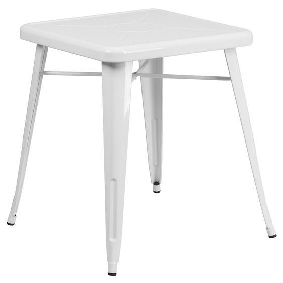 Marias White Square Metal Table