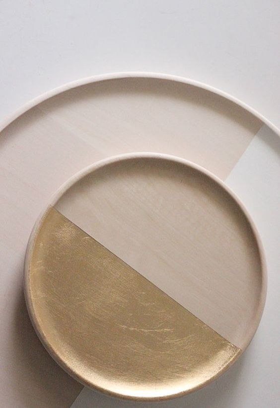 Idea for painting old trays? --Paper Sculptures Set of Two GOLD by thevintagevoguestory on Etsy
