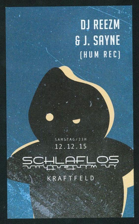 DJ REEZM & J. SAYNE - SCHLAFLOS IN WINTERTHUR - ORIGINAL FLYER - KRAFTFELD