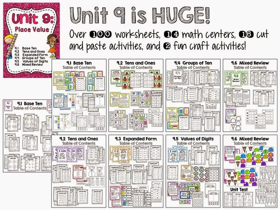 Huge place value unit with over 100 worksheets, 14 centers, 16 cut ...