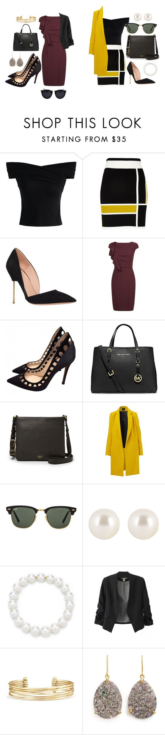 """""""Unbenannt #1590"""" by strawberryfelton ❤ liked on Polyvore featuring Chicwish, River Island, Kurt Geiger, MaxMara, Gianvito Rossi, Michael Kors, FOSSIL, Ray-Ban, Henri Bendel and Stella & Dot"""