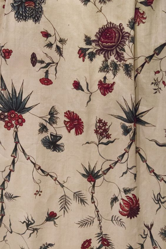 Close-up of chintz fabric of an 18th century skirt.