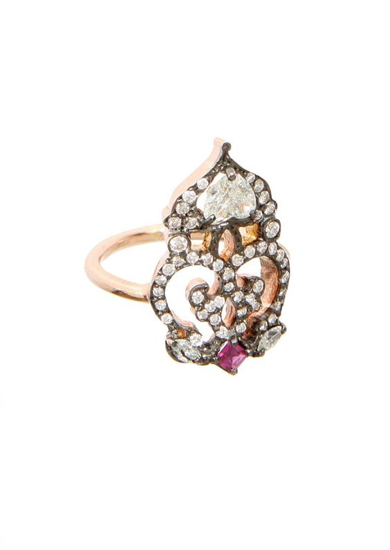 Sabine G pink gold, white diamonds and ruby phalanx ring