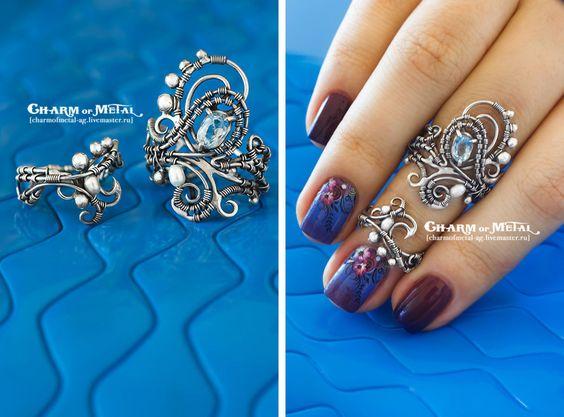 """Купить """"Nereid Galena"""" Серебряные кольца - украшение, подарок девушке, подарок женщине, серебро, wire"""