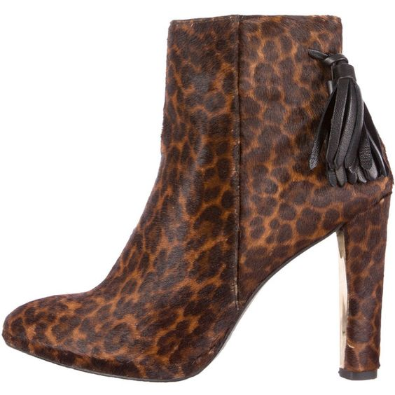 Stuart Weitzman Leopard Printed Ponyhair Ankle Boots ($145) ❤ liked on Polyvore featuring shoes, boots, ankle booties, brown, brown booties, leopard print boots, short brown boots, pointed toe ankle boots and leopard print ankle boots