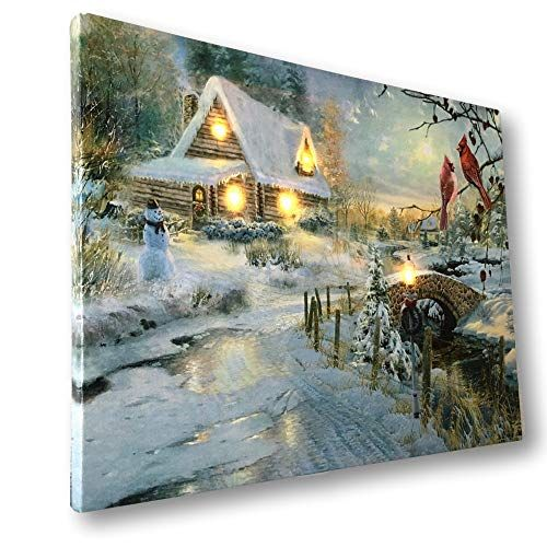 Banberry Designs Winter Scene Canvas Print Set 8211 2 Led Wall Art Prints With Snow And Cardinals 8211 Lig Wall Art Lighting Led Wall Art Wall Art Prints