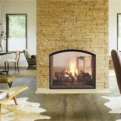 Fireplaces arched windows and both sides on pinterest for Open sided fireplace