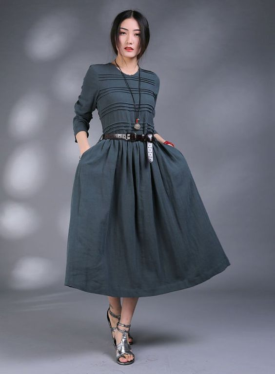 The Show Goes On-Blue linen long sundressmore by FashionColours