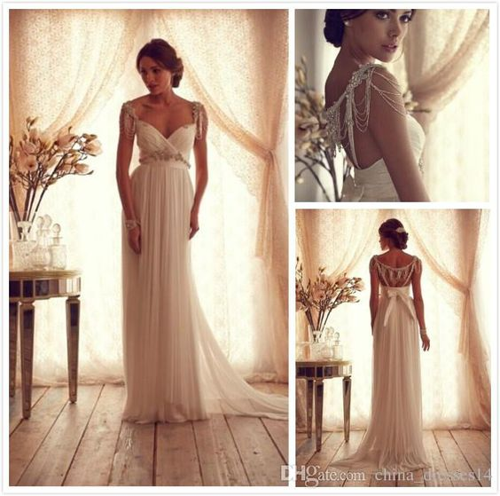 Wholesale Wedding Dresses - Buy 2015 NewStunning Anna Campbell Wedding Dresses 2014 Summer Beading Cap Sleeves Empire Ruched Sheath Backless Chiffon Beach Bridal Dress Gown, $116.1 | DHgate.com