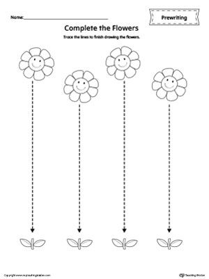 **FREE** Straight Line Tracing Prewriting Flower Worksheet Worksheet.Trace the lines to finish drawing the flowers in this  printable worksheet.