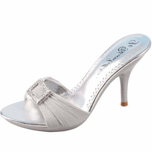 Save 10% + Free Shipping Offer * | Coupon Code: Pinterest10 Material: Man Made Material Brand: Blossom Collection Heel Height 4 inches Product Code: Lin-45 Silver Color Women's Blossom Lin-45 Silver Satin Sandals