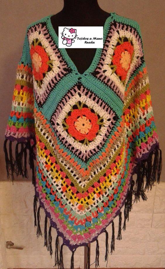 Poncho Artesanal Tejido Al Crochet Hilo De Algodon - $ 550,00