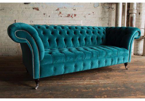 Vintage 3 Seater Teal Velvet Modern Chesterfield 3 Seat Photo 1 Teal Velvet Sofa Velvet Chesterfield Sofa Teal Living Room Decor