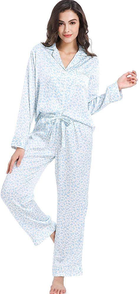Serenedelicacy Womens Silky Satin Pajamas Short Sleeve PJ Set Sleepwear Loungewear