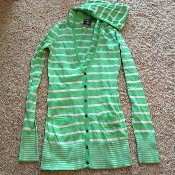 VS PINK Cardigan Great condition, lightly worn. Lime green and white striped cardigan from VS Pink line. Size small Victoria's Secret Sweaters Cardigans