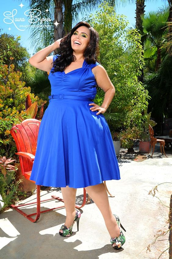 Heidi Dress in Royal Blue - Plus Size - Inspired by vintage swing ...