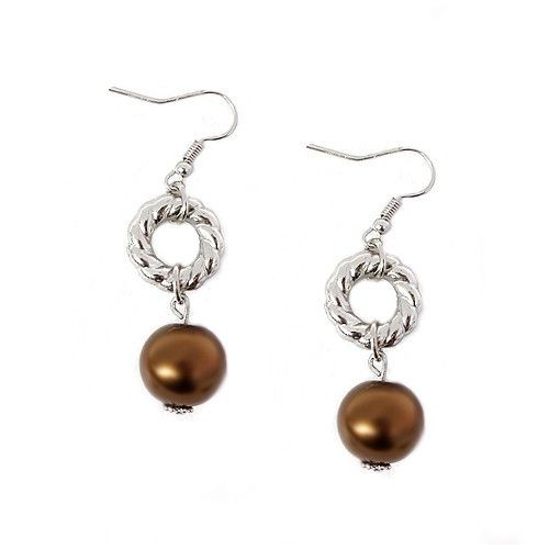 Brown Glass Pearl With Silver Twisted Round Earrings